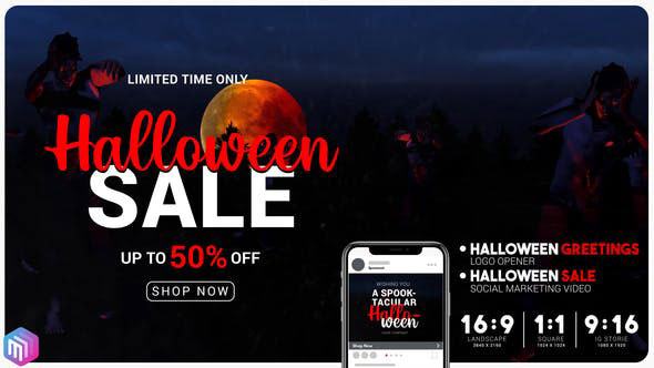 Videohive Halloween sale greetings Instagram and YouTube marketing 28718250