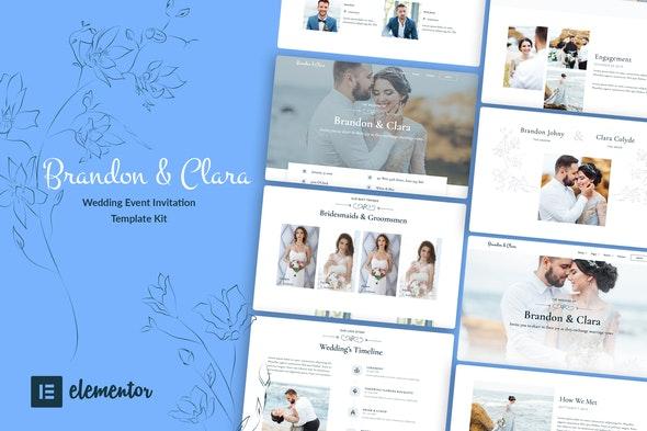ThemeForest Brandon & Clara v1.0 Wedding Event Invitation Elementor Template Kit 28382661