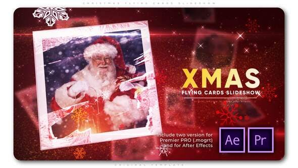 Videohive - Christmas Flying Cards Slideshow - 29449428