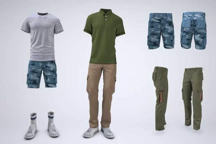 Cargo Shorts and Cargo Pants Mock-Up U9MTQZV