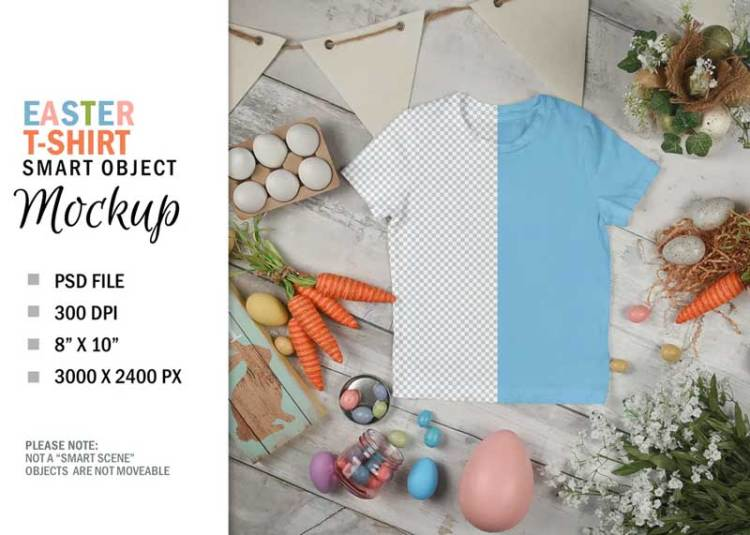 Easter T-Shirt Mockup Top View Flatlay