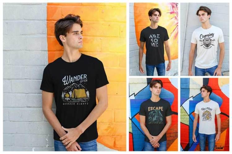 Men Urban T-Shirt Mockups YLV5DWZ