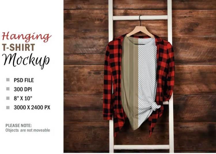 Mockup T-Shirt on Hanger Wood Wall-E5GJAJJ