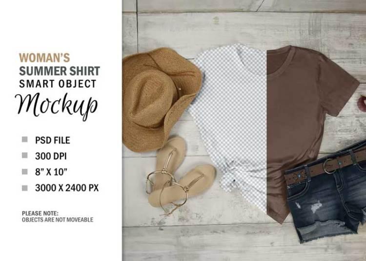 Summer Smart Layer T-Shirt Mockup Flatlay Display