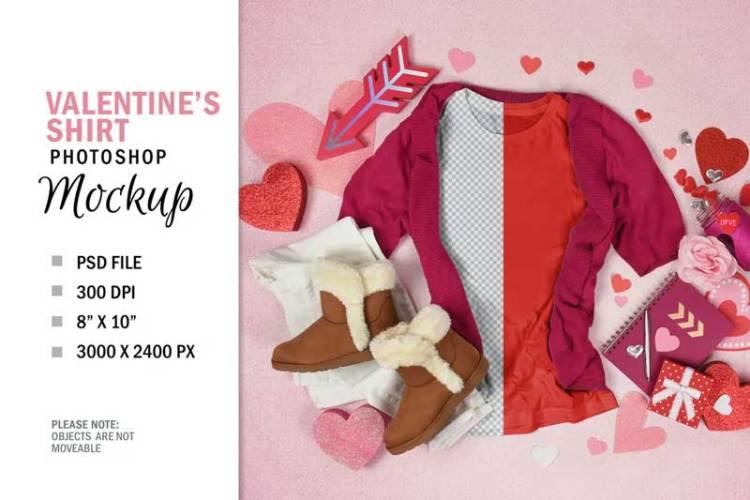 Valentine's Day T-Shirt Mockup Top View Flatlay YWXD3XV