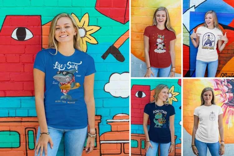 Women Urban T-Shirt Mockups 6NPDM7X