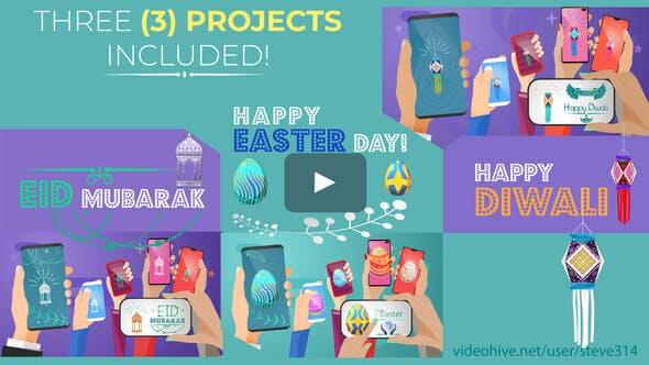 Videohive Happy Easter Day Diwali Eid Mubarak Social Share 23589378