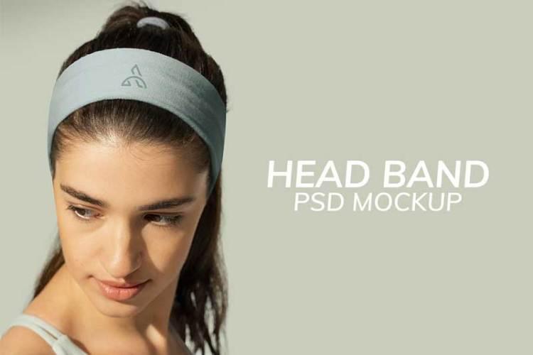 Headband mockup psd woman sport apparel shoot
