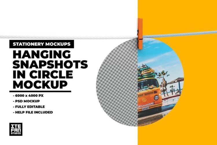 Hanging Snapshots In Circle Mockup