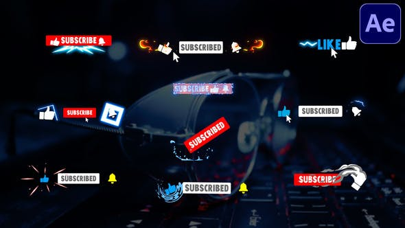 Videohive Youtube Subscribe Buttons After Effects 31937802