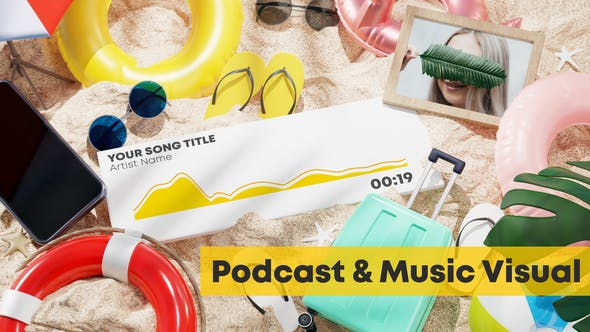 Videohive Beach Music and Podcast Visualizer 3D 33026786