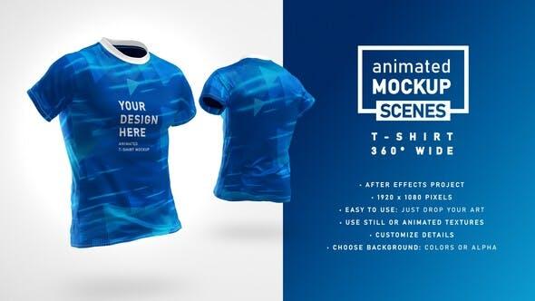 Videohive T-shirt 360 Wide Mockup Template Animated Mockup SCENES 33033077