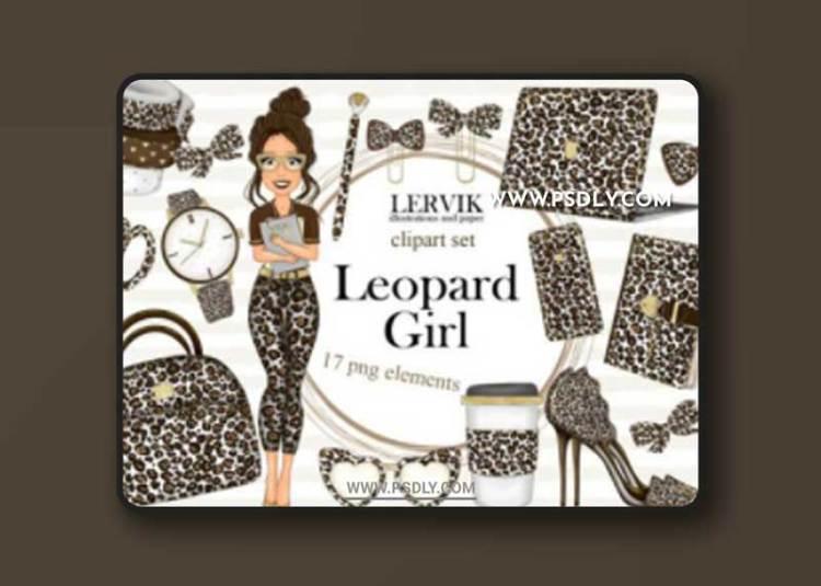 Girl Planner - Clipart Set- Leopard Print Graphic