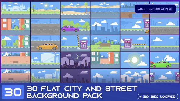 Videohive 30 Flat City and Street Background Pack - AE 33314291