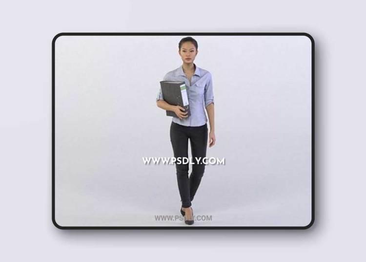 Mei 0314 Woman holding a folder 3d Model