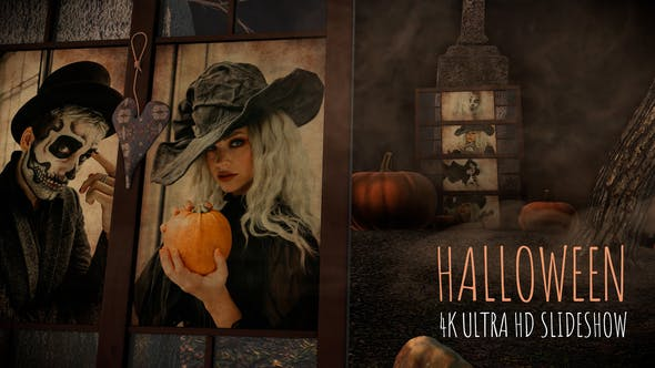 Videohive Halloween slideshow in a foggy old cemetery 33960240