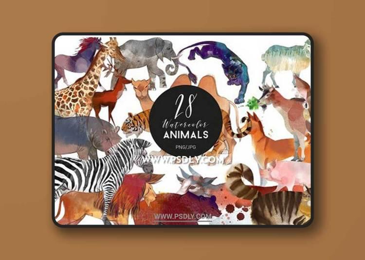 Watercolor animal set