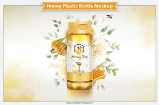CreativeMarket - Honey Plastic Bottle Mockup 6305503