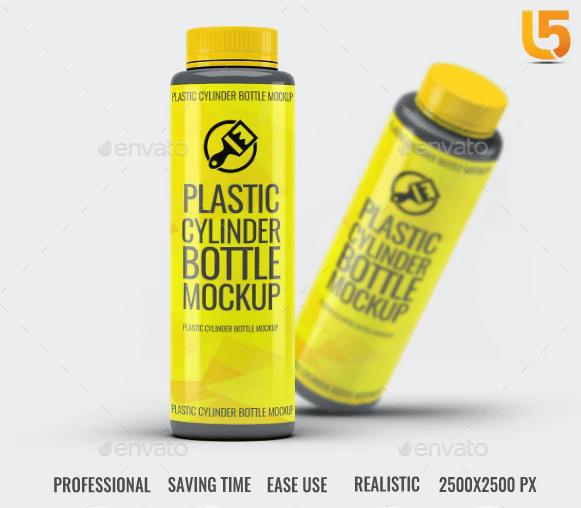 GraphicRiver - Plastic Cylinder Bottle Mock-Up 212480606