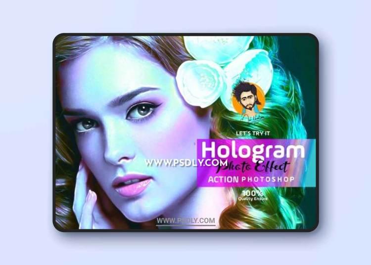 CreativeMarket - Hologram Photo Effect PS Action 5639973
