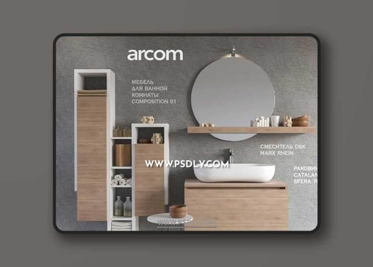 Furniture washbasin SOUL - COMPOSITION 01 + Bathroom Accessories