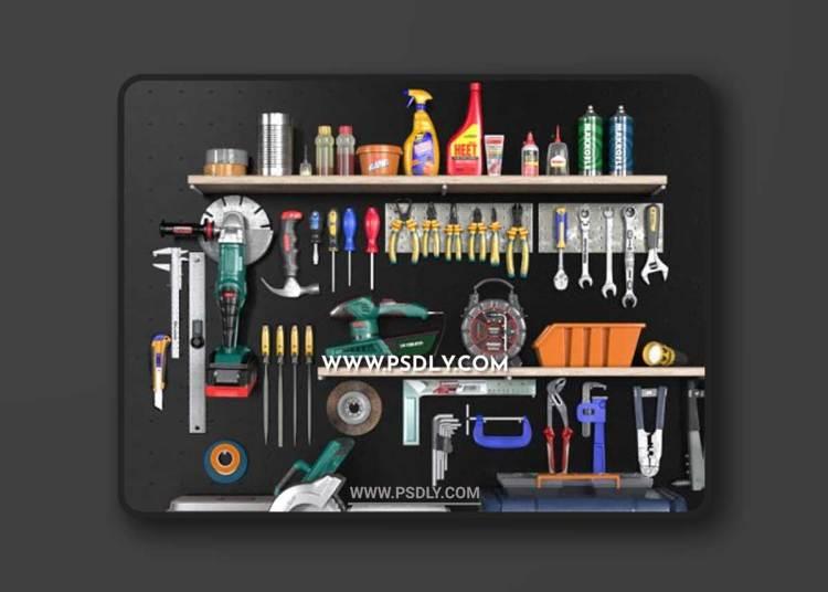 Garage tools set 2 3D Models