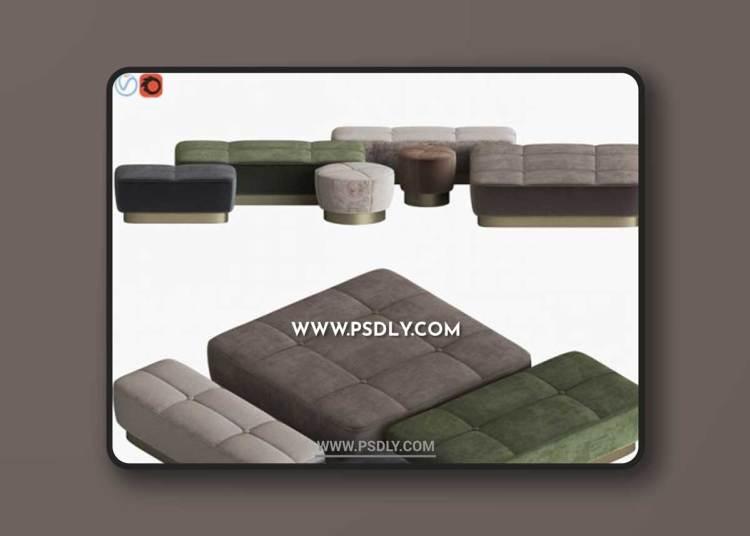 Minotti Jacques Pouf Set 3D Models