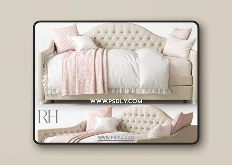 RH REESE TUFTED DAYBED WITH TRUNDLE 3D Models