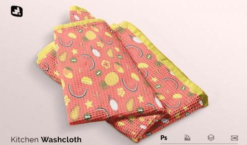 CreativeMarket - Kitchen Washcloth Mockup 5137747