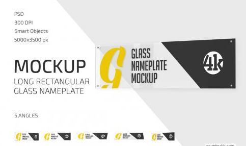 CreativeMarket - Long Glass Nameplate Mockup Set 5722394
