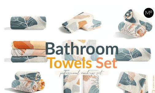 CreativeMarket - Bathroom Towels Set Mock-ups 6045697