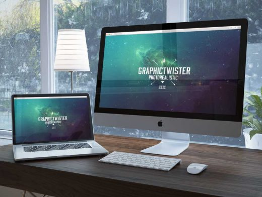 Macbook And Monitor Unique Workspace Psd Mockup Psd Mockups