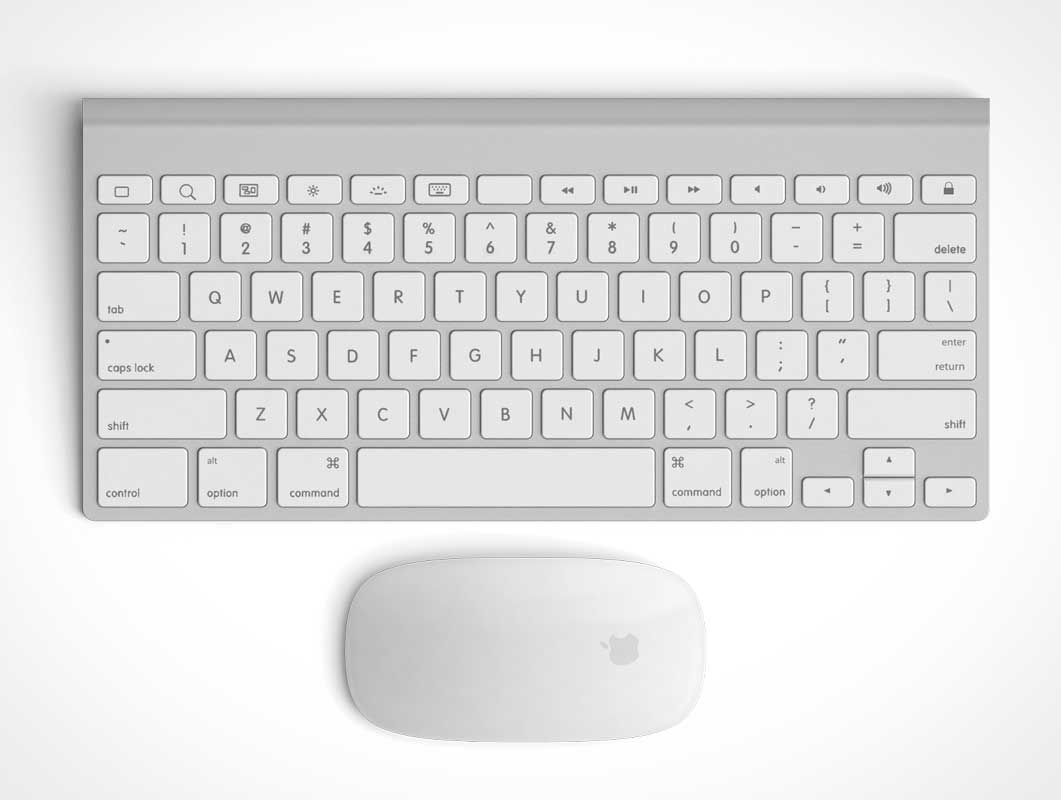 Apple Keyboard And Mouse Top View Psd Mockup Psd Mockups