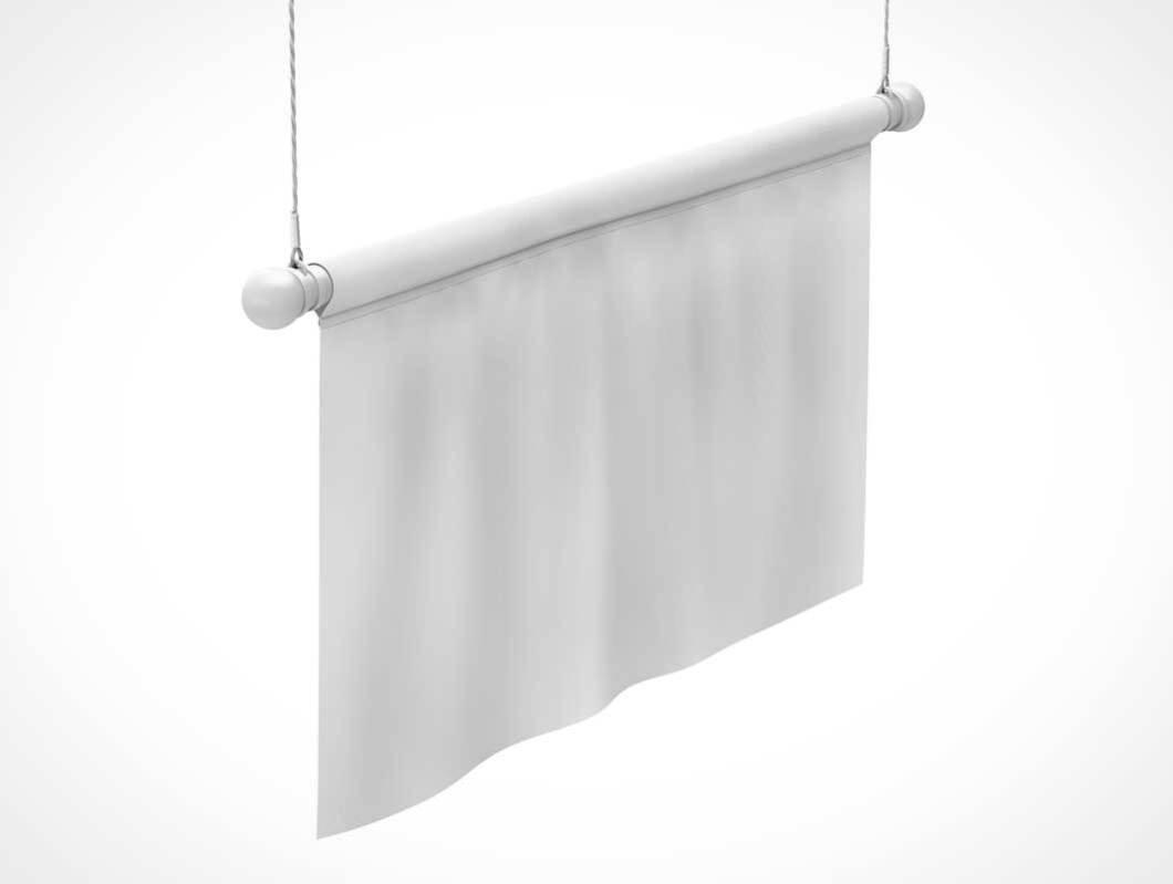 Hanging Fabric Advertising Banner Psd Mockup