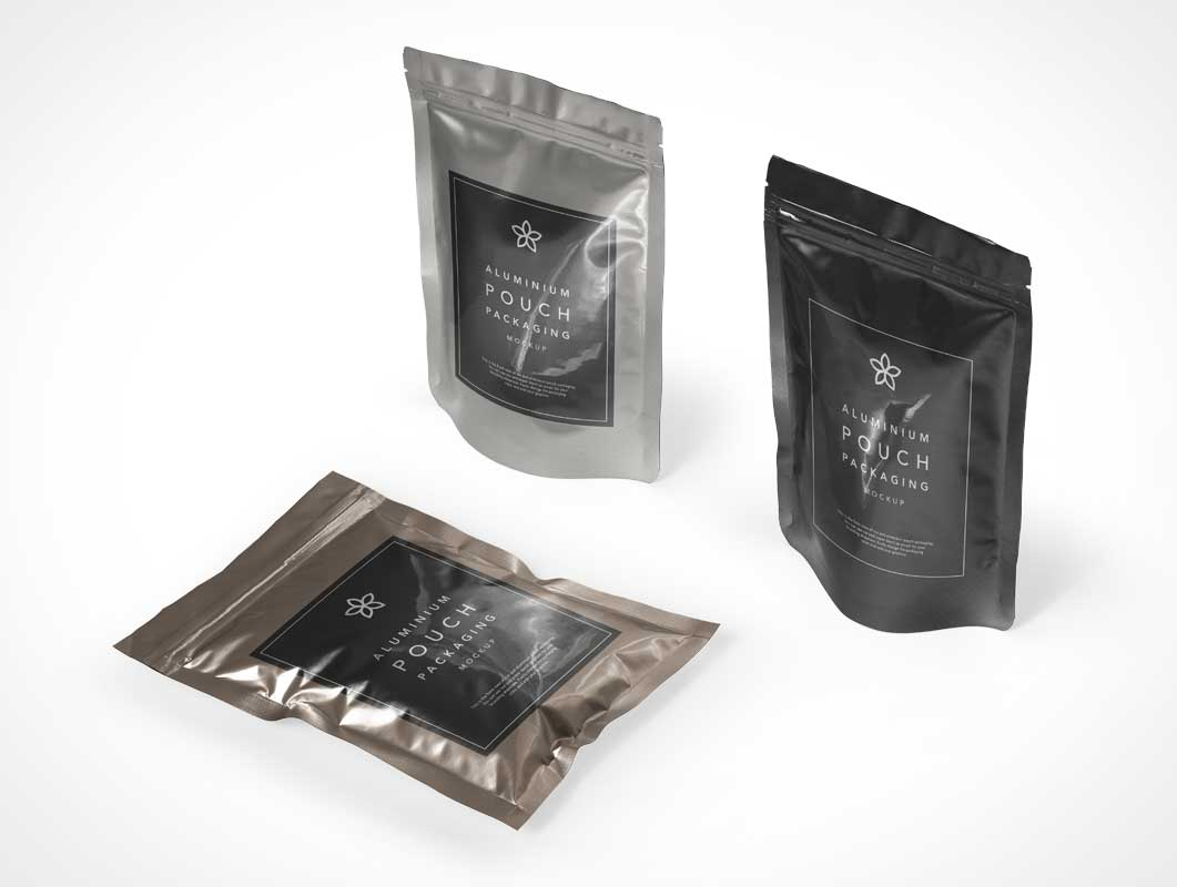 Aluminium foil pouch mockups, coffee paper pouch, food and milk pouch packaging mockups. Foil Metallic Pouch Packaging Psd Mockup Psd Mockups