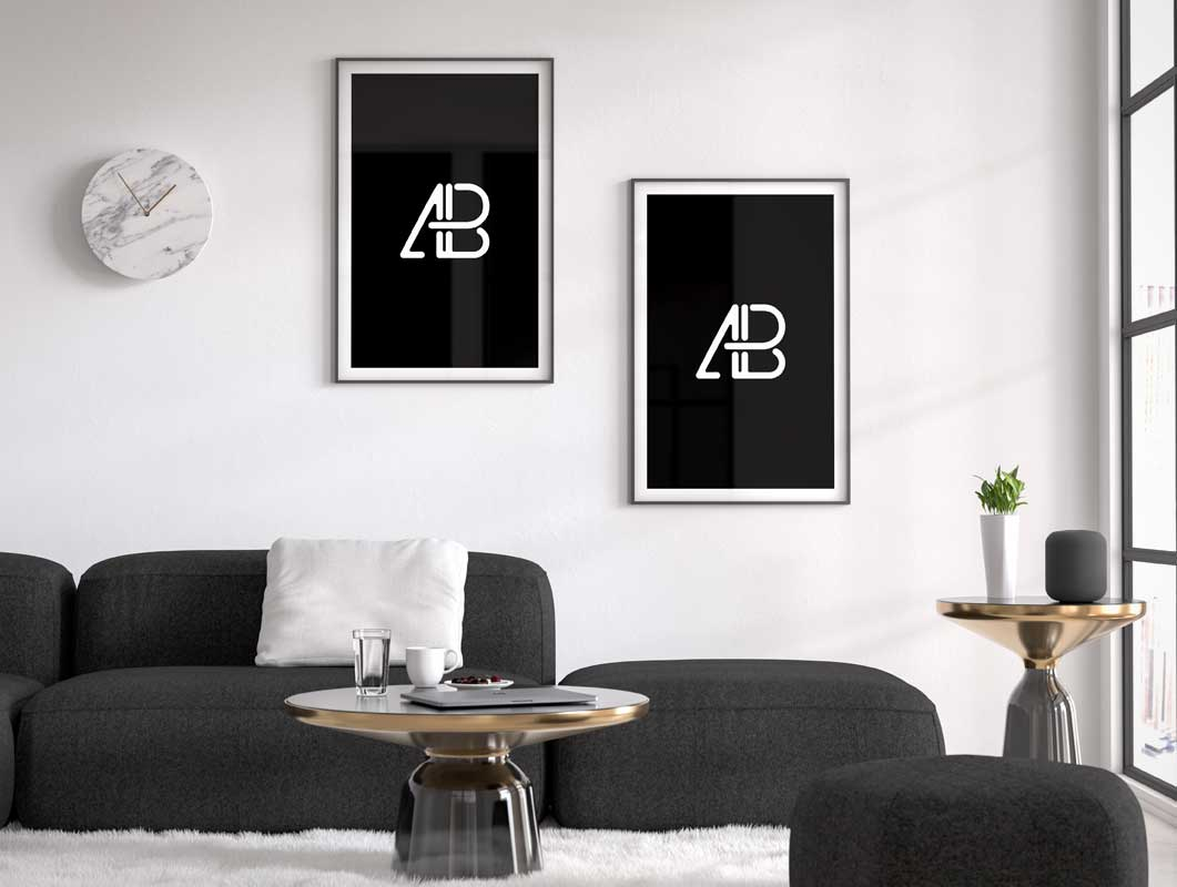 Living Space Framed Posters Clock Couch Psd Mockup Psd Mockups