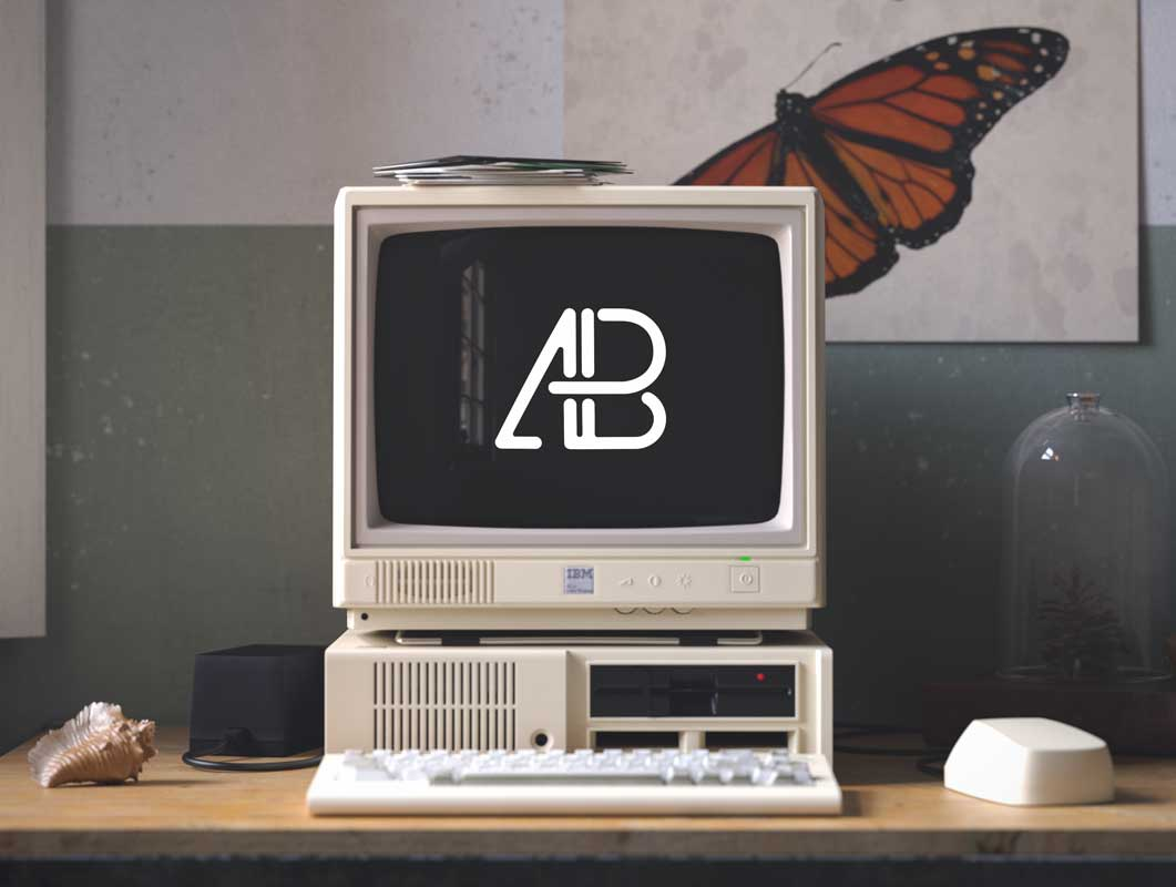 Retro Ibm Pc Cathode Monitor Floppy Drives Psd Mockup Psd Mockups