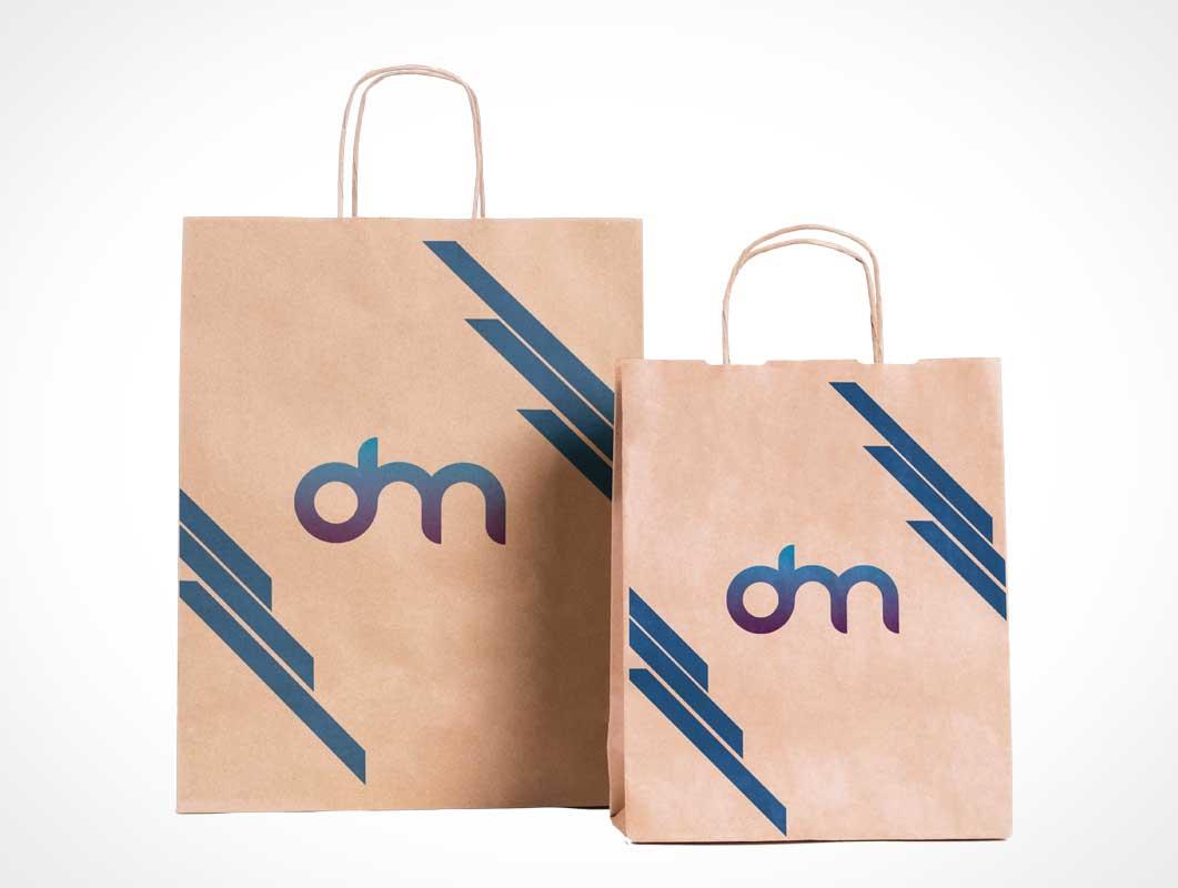 Paper bag with a metallic coffee pot. Paper Bag Psd Mockups