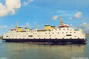 Een ansichtkaart van Vlissingen met daarop afgebeeld de dubbeldeksveerboot Prinses Juliana.