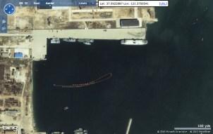Van de Chinese periode van de Zeeuwse schepen Prinses Margriet en Prinses Beatrix zijn weinig foto's bekend. Dit is een satellietfoto van Yantai met aan de kade de voormalige Margriet.