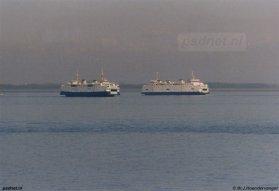 De laatste schepen van de veerdienst Kruiningen-Perkpolder, voordat deze veerverbinding na 60 jaar opgeheven werd.