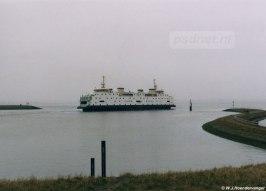 De veerhaven van Perkpolder met de veerboot Prinses Juliana.