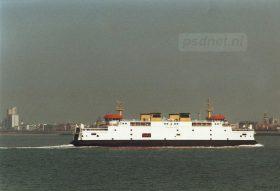 De skyline van Vlissingen met op de voorgrond de ferry Prins Johan Friso.