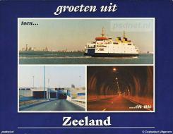 Een ansichtkaart met de laatste PSD-afvaart van de Koningin Beatrix en de opening van de Westerscheldetunnel tussen Ellewoutsdijk en Terneuzen.