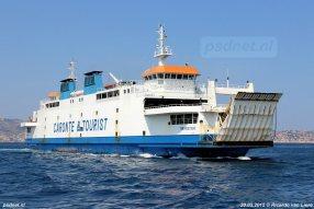 De voormalige PSD-veerboot Koningin Beatrix (1993) in de vaart als Tremestieri op de Straat van Messina.