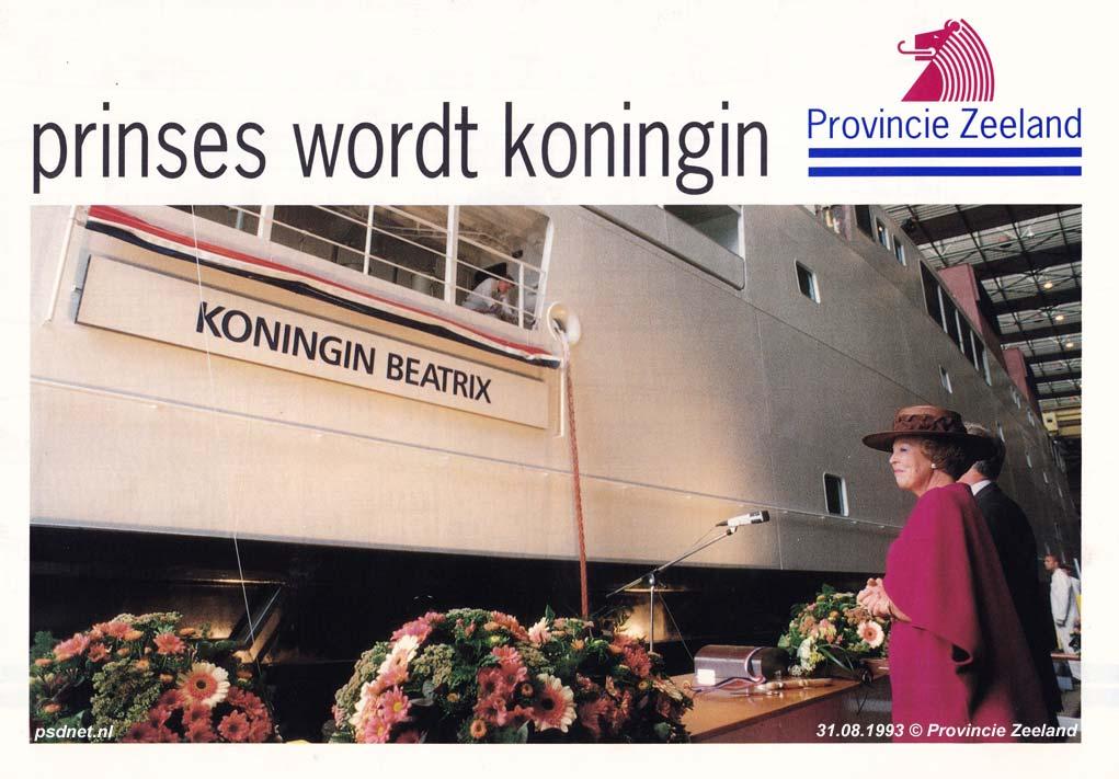 Een informatiefolder van de Provincie Zeeland over de veerboot Koningin Beatrix. Op de omslag zien we een foto van de doop van de veerboot door hare majesteit de koningin.