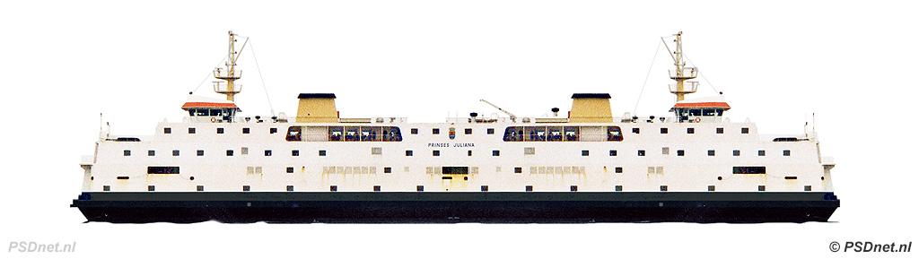 Zijaanzicht PSD Prinses Juliana (1986)