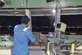 Het stuurhuis van de voormalige PSD-veerboot Margriet in Indonesië.