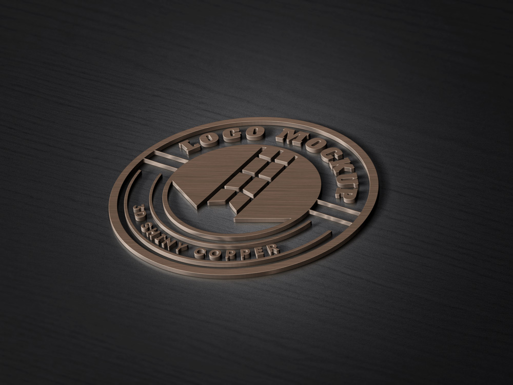 3D Copper Logo MockUp PSD Template