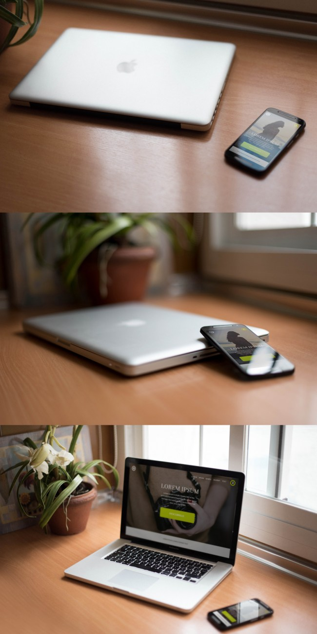 7 Smartphones and Notebook Mockup - Free PSD